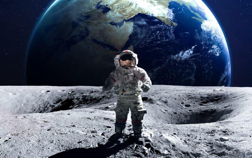 Astronauta na Księżycu, zdjęcie ilustracyjne
