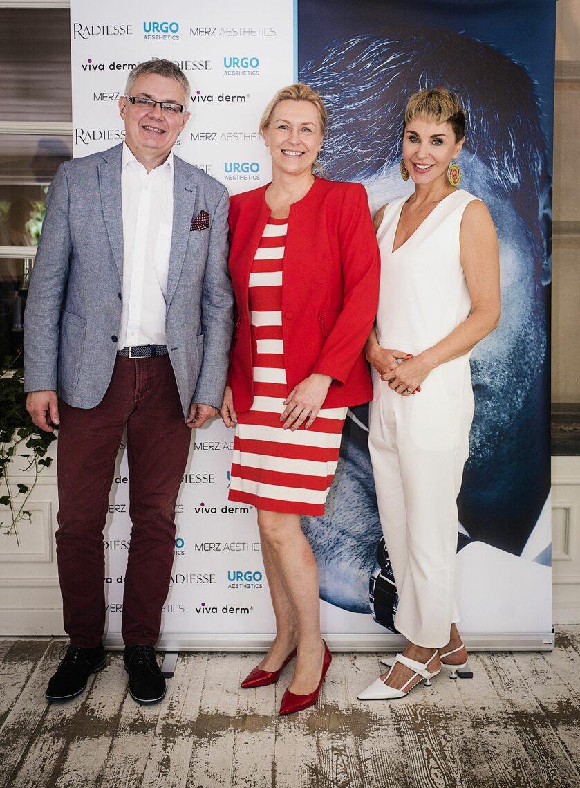 Od lewej dr Dariusz Kałka, kardiolog (Centrum Zdrowia Mężczyzny), Ewa Kozak (Urgo) i dr Barbara Walkiewicz-Cyrańska (Viva-Derm)