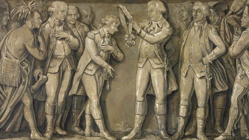 Jerzy Waszyngton odznacza Kościuszkę Orderem Cyncynata