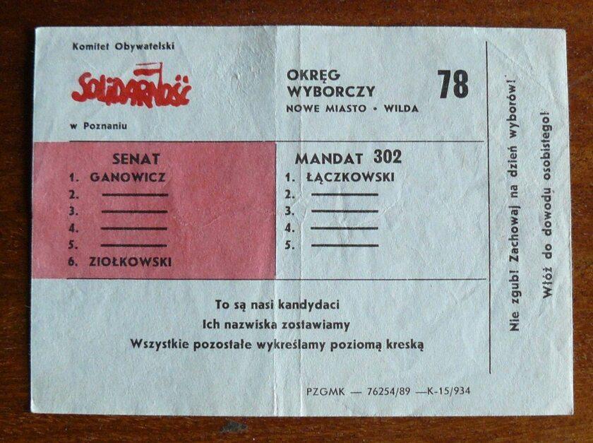 """Ulotka wyborcza """"Solidarności"""""""