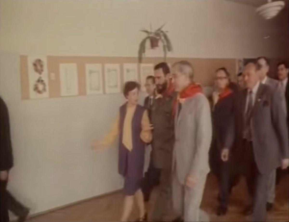 Fidel Castro w Szkole Postawowej im. Che Guevary